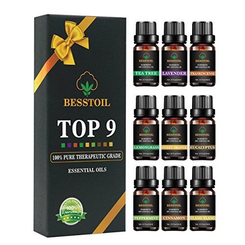 Juego de aceites esenciales de grado terapéutico TOP9 100%puro aromat