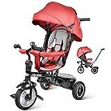 besrey Dreirad 7-in-1 Kinder Fahrrad mit 360° Drehsitz + Luftkammerrad + Liegefunktion ab 9 Monate bis 6 Jahre + Regenschutz - Rot