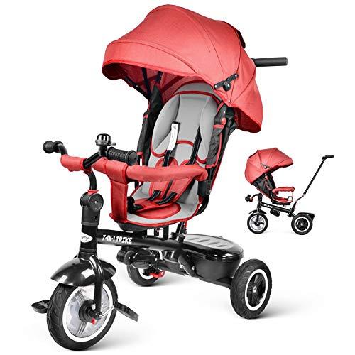 Driewieler Kids Trike, Besrey Kinderwagen met drie wielen Buggy Kinderwagen Smart Trike Push-stoel 7 in 1, Omkeerbare stoel met pedaal voor 6 maanden tot 6 jaar