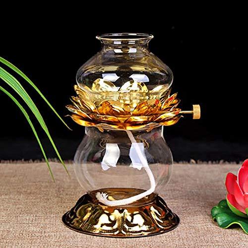 CUIRUI Moderna Lámpara De Cristal De Petróleo, Aluminio Lotus Base De La Lámpara, Lámpara De Regulación Y Prueba De Viento, Dormitorio De La Lámpara De Petróleo (Size : 15.5x10cm)