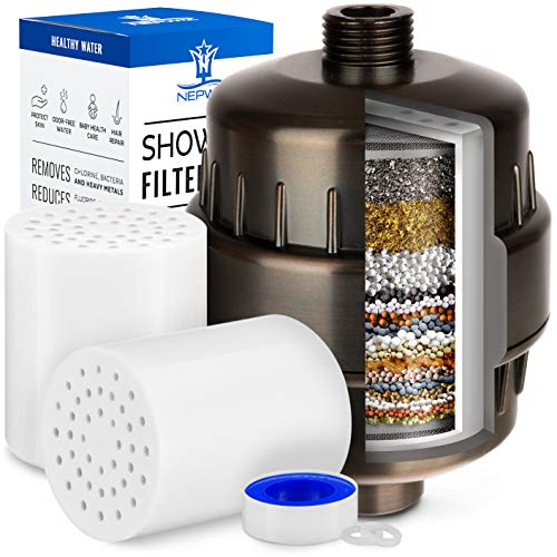 20 Stage Oil Rubbed Bronze Shower Filter with Vitamin C for Hard Water - 2 Cartridges Included - High Output Shower Water Filter Removes Chlorine