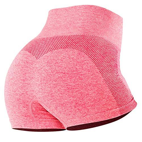 Tuopuda Pantalones Deportivos Cortos de Correr para Mujer Mallas Elásticas Leggings Sin Costuras de Alta Cintura para Fitness Yoga Correr Secado Rápido (Rosa,M)