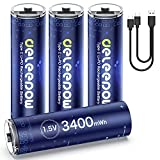 Deleepow Rechargeable AA Batteries Lithium 3400mWh AA Lithium Rechargeable Batteries 1500 Cycles with USB C Cable 4-Pack