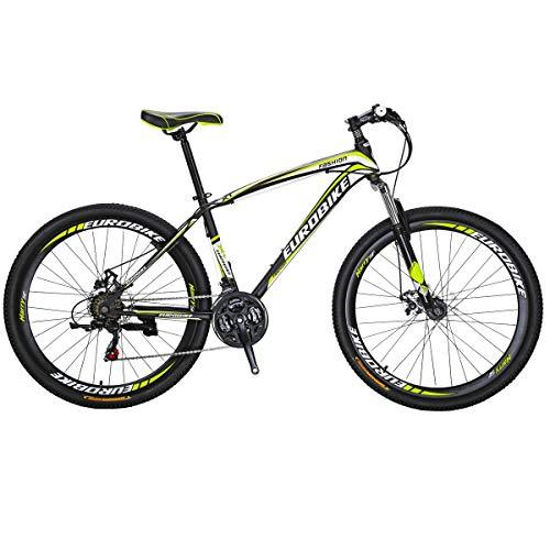Eurobike Bikes HYX1 27.5 Inches Muti Spoke Wheels 21 Speed Mountain Bike Dual Disc Brake Bicycle Black Yellow