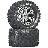 Duratrax Six Pack MT 2.8' 1/10 RC Monster Truck Tires with Foam Inserts: C2 Soft, Mounted, 6-Spoke Front/Rear Wheels, Chrome, 1/2' Offset, Set of 2