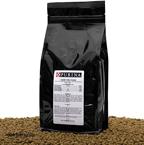 Game Fish Chow 2 lbs, A 32% Protein, Extruded Multi-Particle Size Floating Pond Diet/Pellet.