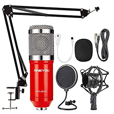 ZINGYOU Condenser Microphone Kit, BM-800 Mic Set with Adjustable Mic Suspension Scissor Arm, Metal Shock Mount and Double-layer Pop Filter for Studio Recording & Broadcasting (Red)