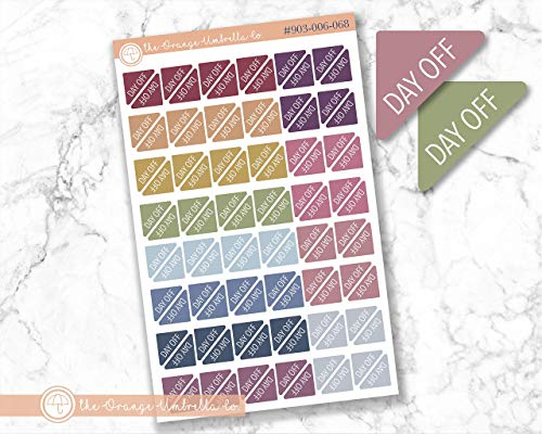 Mini Day Off Corner Planner Stickers, Pay Day Deposit Reminder Planner Labels, Muted Rainbow Colored Payday Stickers (#903-006-068-WH)