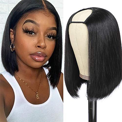 AliPearl Hair Straight U Part Bob Wigs Brazilian Straight Human Hair Wigs For Black Women Glueless Pre Plucked Natural Hairline U Shape Wigs 180% Density Natural Black (8 inch)