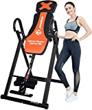 pooboo Inversion Table Foldable Inversion Chair Heavy Duty Inversion Table Back Stretching Machine with 180 Full Inversion for Back Pain Relief