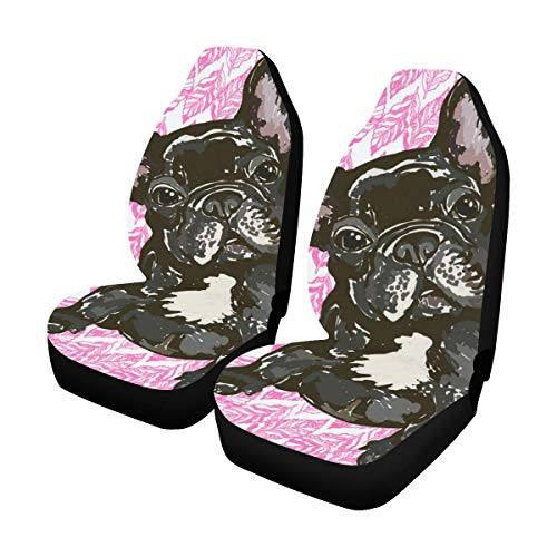 InterestPrint French Bulldog Car Seat Covers Set of 2 Protectors