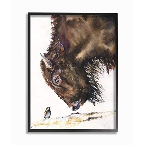 Stupell Industries Bird and Large Buffalo Animal Watercolor Painting Black Framed Wall Art, 16 x 20, Multi-Color