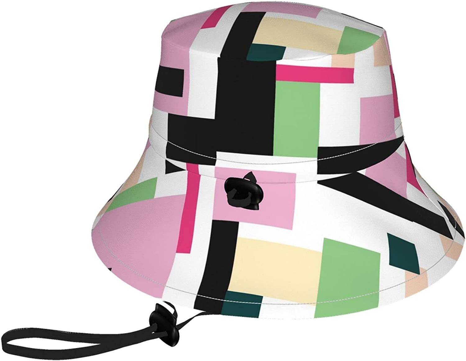 Kids Bucket Hat Simple Lines and Shapes Wide Brim Sun Protection Fishing Hat for Boys and Girls Outdoor Activities