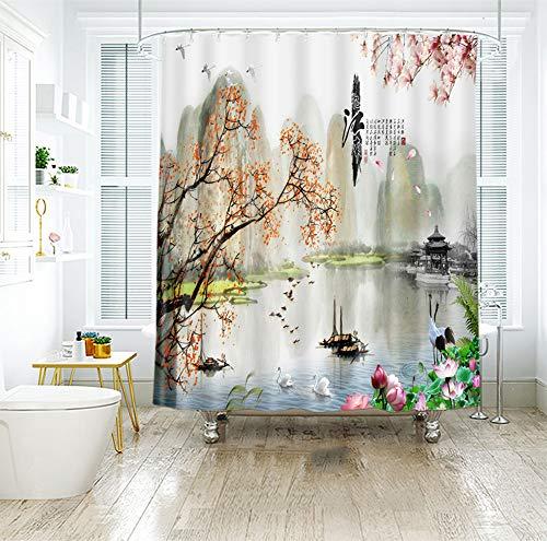 LYzpf Duschvorhang Moderner Taraxacum Digitaldruck Badzubehör aus Polyestergewebe Mode Hübsche Badezimmervorhänge für die Innendekoration Fensterbehandlung,Lotus,200cm×180cm