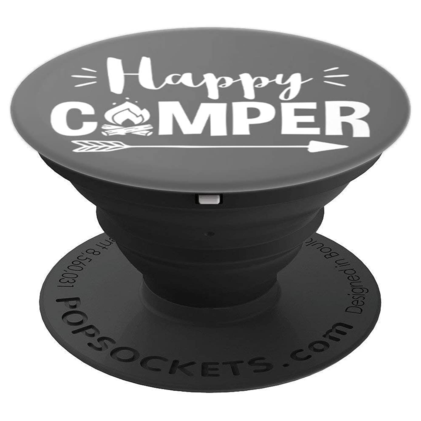 Happy Camper Camping Gray - PopSockets Grip and Stand for Phones and Tablets