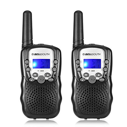 BrysonKally Walkie Talkie 3km Range Multi-canali Walkie Talkie Radio 2 Vie Giocattolo per Bambini per attività All'aperto Nero 2pcs Interphone