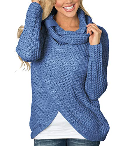 Pullover Damen Loose Langarm Rollkragen Asymmetrische Strick Sweater Gitter Oberteile Herbst Winter Frauen