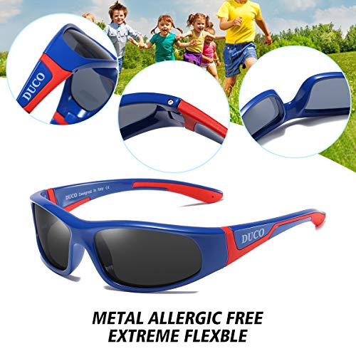 DUCO Kids Sunglasses Boys Sports Sunglasses Youth Polarized Sunglasses For Boys And Girls Age 3-10 With Rubber Flexible Frame Blue Red K001