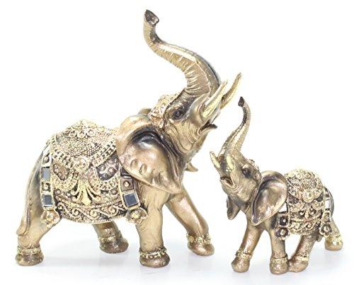 Set of 2 Feng Shui Brass Color Elegant Elephant Trunk...