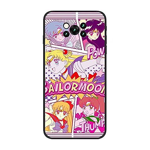 Case for XIAOMI Poco X3 NFC, Sailor-Moon Pretty Soldier-Girl 6 Soft Black TPU Rubber Liquid Shell Coque