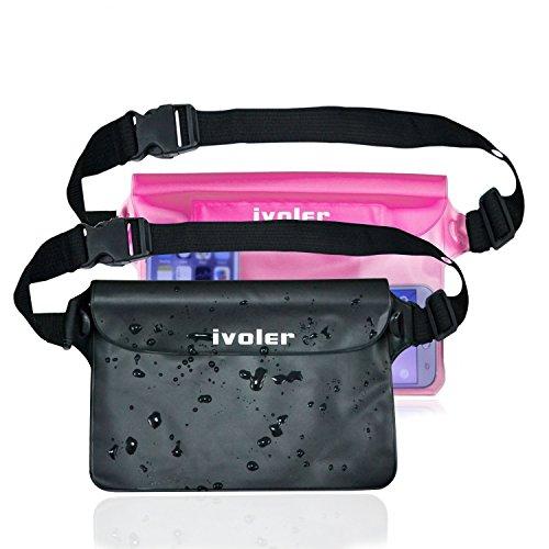 [2 Stücke] iVoler Wasserdichte Tasche Hülle mit Verstellbarer und Extra Langer Gurt, 100% Wasserdichte Beutel Tasche Handyhülle Schutzhülle Strand für Smartphones, iPad, Kamera etc. (Schwarz+Rosa)