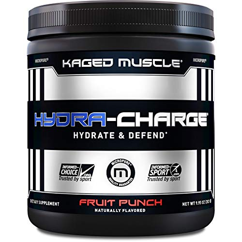 KAGED MUSCLE, HYDRA CHARGE Premium Electrolyte Powder, Hydrate, Pre Workout, Post Workout, Intra Workout, Fruit Punch, 60 Servings