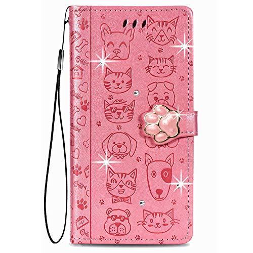 Funda para teléfono Samsung Galaxy S21 FE con diseño de gato y perro con purpurina, piel sintética suave con correa y función atril, color rosa