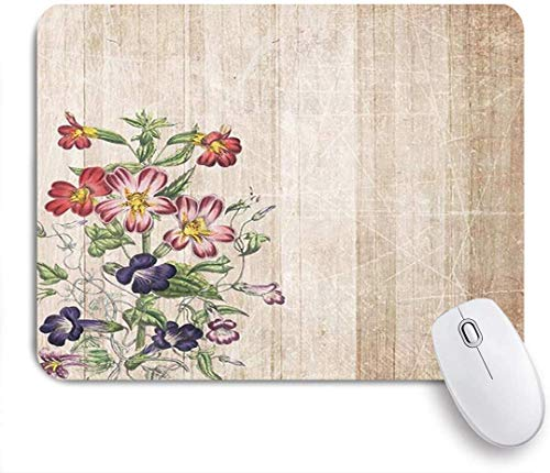 Blumen Antike Holzbrett Bauernhaus Zaun Blume Mausmatte,Gummiunterseite Maus Pad,Schreibtischunterlage,Mausunterlage