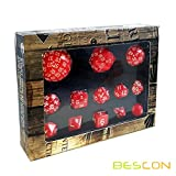 Bescon Complete Polyhedral Dice Set 13pcs D3-D100, 100 Sides Dice Set Opaque Red