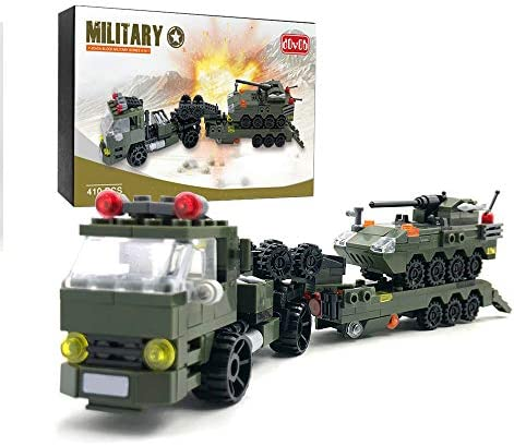 dOvOb Military Tank Car Heavy Transport Truck Toy with Armored Vehicles Building Blocks 400 product image