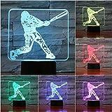 Solo 1 pcs figura de acción del jugador de béisbol 3d luz nocturna led usb gece lambasi niños regalo de los niños bebé luz nocturna lámpara de escritorio deportivo mesita de noche
