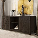Amolife TV Stand with Storage,Wood TV Cabinet with Adjustable Shelves, Double Barn Doors,Media Console for TV's Up to 58' Entertainment Center,Espresso
