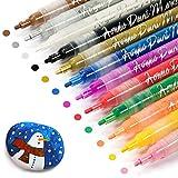 Gain-Art 12 Colori Pennarelli a Vernice Acrilica, a Base d'Acqua, Ottimi per Dipingere Roccia, Ciottoli, Legno, Tessuto, Ceramica, Vetro