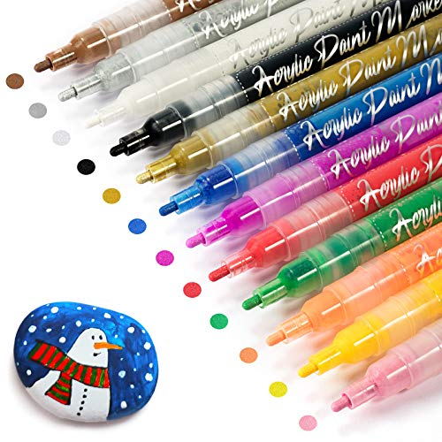 Gain-Art 10 bolígrafos de pintura acrílica metálica, kit de pintura permanente, marcador de pintura impermeable para guijarros, piedras, tarros de vidrio, tela, madera, tazas, punta reversible de 3 mm