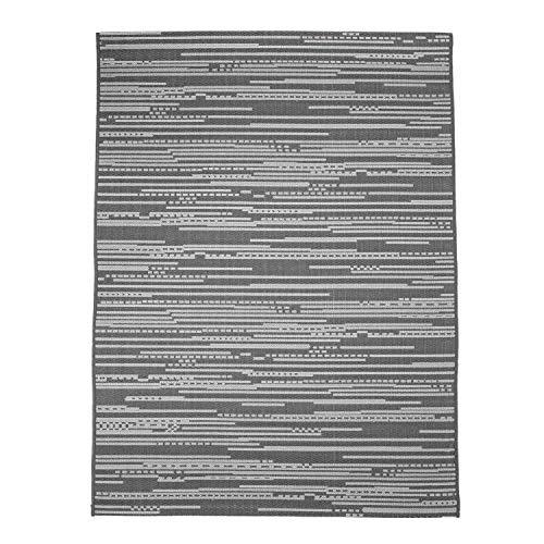 CC Teppich In-Outdoor Wetterfest Grau 120x170cm Oeko-Tex Standard 100% Polypropylen Allergiker geeignet