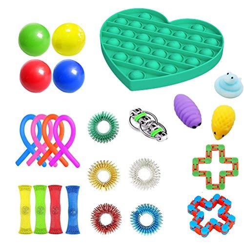 TiKiNi Sensory Fidget Toys Set de 24 piezas de juguetes para alivio del estrés, conjunto de juguetes sensoriales, juguetes para terapia sensorial para ADHD, autismo, estrés y ansiedad