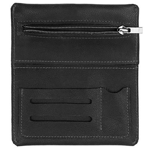 SIMARU Leder Tabaktasche für 30g Tabakbeutel, Dreher-Tasche aus Echtleder mit Filterfach & Blättchen-Halter (Schwarz)