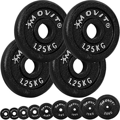 Movit® Hantelscheiben Set PRO, 100% Gusseisen, 30/31 mm Bohrung, Gewichtsscheiben Set Gewichte Hantel 4X 1,25kg