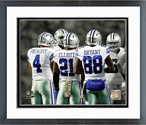 Ezekiel Elliott Dak Prescott Dez Bryant Dallas Cowboys Spotlight Action Photo (Size: 12.5' x 15.5') Framed