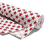 Amazinggirl Baumwollstoff Sterne Meterware weiß rot Stoff