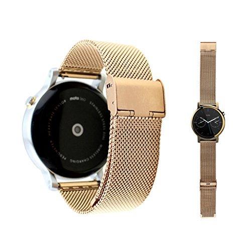 Dokpav Banda Pulsera Correa de Reloj Inteligente Smartwatch para Moto 360 II- Dorado, 20mm