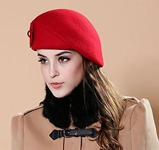toptens 100% Wool Felt Elegant Women Autumn Winter French Style Beret Beanie Warm Pillbox Hat Tam Cap (Red)