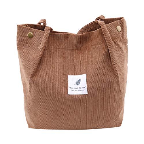 SEVENHOPE Frauen Cord Handtasche Schultertasche Tote Geldbörse Lässig Einkaufstasche Mode Große Kapazität Umhängetasche (Braun)