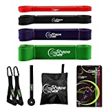 4evershape Pull Up Assist Bands, Resistance Bands Set with Handles and Door Anchor, Workout Bands, Heavy Duty Exercise Bands for Body Stretching, Powerlifting