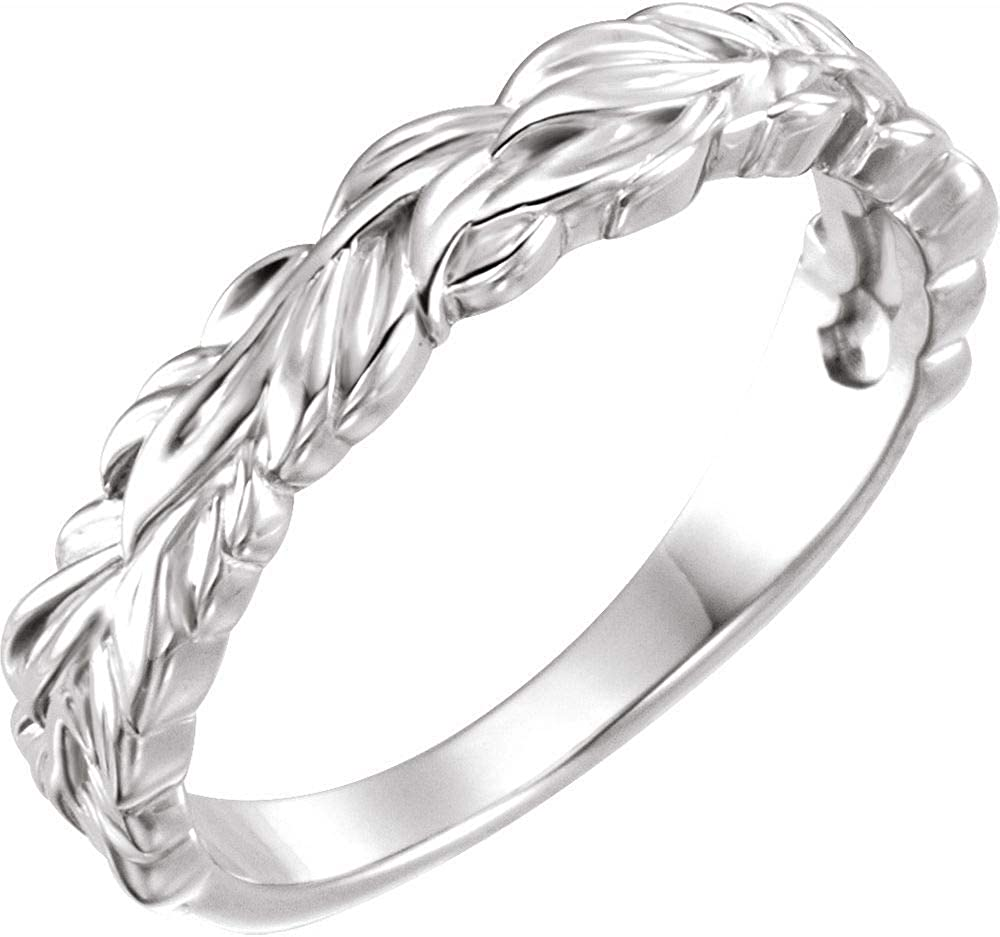 Stackable Wedding Anniversary Leaf Ring Band (Width = 4mm)