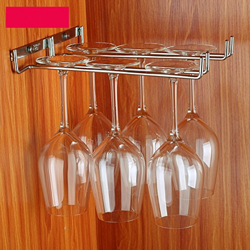 Supporti per Bicchieri 1 Pezzo 1 Fila Abcsea 27 cm Porta Bicchiere di Vino portabottiglie in Acciaio Inox portabicchieri Vino sotto armadietto