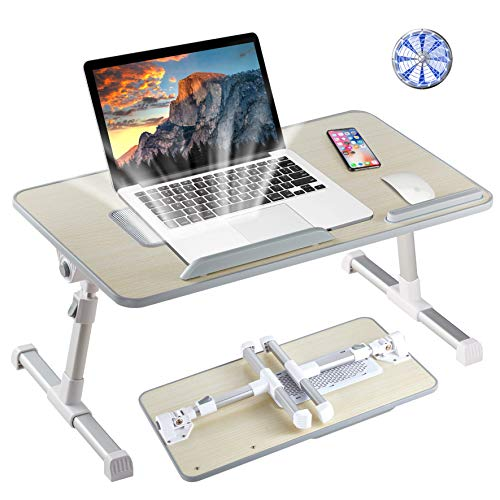 Laptop Table, 8AM Adjustable Laptop Desk with Cooling Fan Foldable Laptop Tray with Legs Bed Table for Laptop Working Reading and Writing Eating in Bed Sofa Couch Floor