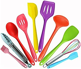 Silicone Kitchen Utensil Set - Colorful 10 Pieces Cooking Utensils Set Nonstick Cookware Best Kitchen Tools for Home Cooking ,BBQ, Baking, Serving, Outdoor, Picnic, Camping