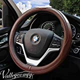 Valleycomfy 15.75 inch Auto Car Coffee Steering Wheel Covers- Genuine Leather for F-150 Tundra Range Rover.