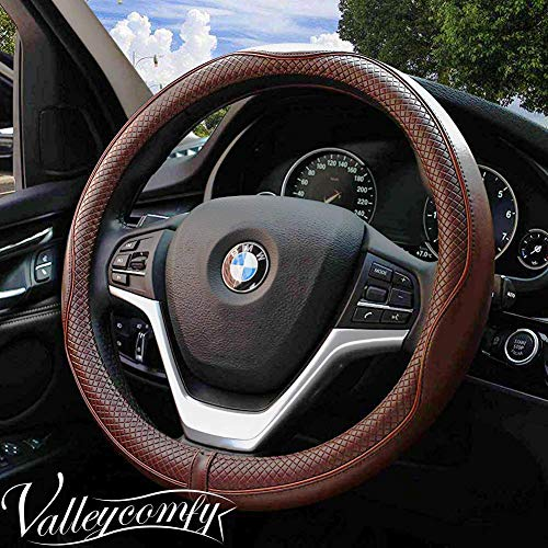 Valleycomfy 15.75 inch Auto Car Coffee Steering Wheel Covers- Genuine Leather for F-150 Tundra Range Rover